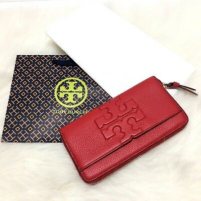 9df87e8f3 TORY BURCH Bombe -T Zip Continental Liberty Red Embossed Leather Wallet Bag