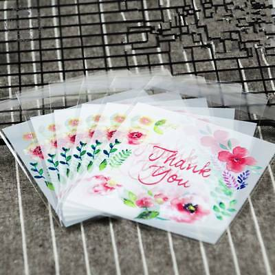 100X Flower Lace Self-Adhesive Plastic Gift Bags for Biscuits Snack Cookie EP