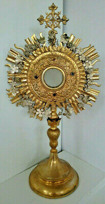 Antique Russian Ecclesiastical Large Monstrance Brass Gilded 19th century.