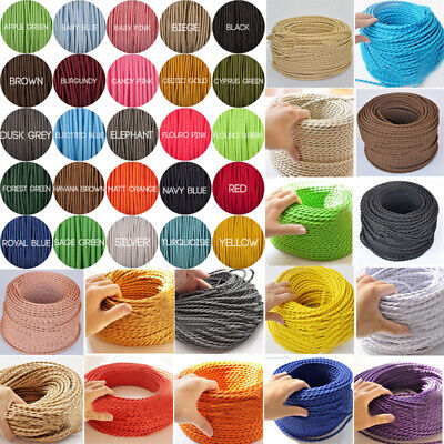 3 Core Twist /Round Fabric Vintage Braided Cable flex Wire Electric Light 0.75mm