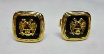 Wonderful Pair Of Vintage 32nd Degree Masonic Double Headed Eagle Cuff Links.