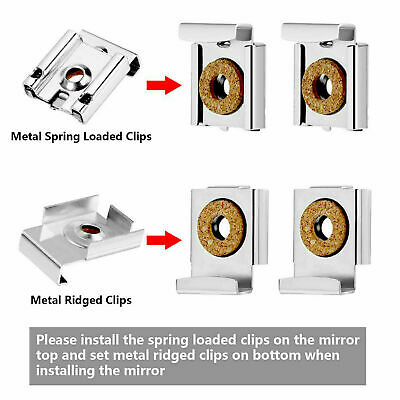 4x Frameless Mirror Hangers Clips For Hanging Pictures Paintings Photos Glass UK
