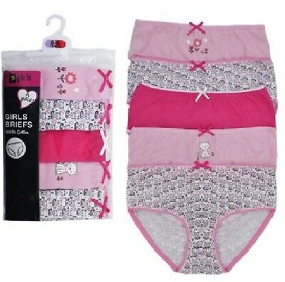Girls 5 Pack of 100% Cotton Briefs Pants Knickers Age Size 2 3 4 5 6 7 8 Bright