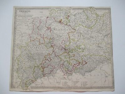 1833 Antique Engraved Map GERMANY (Deutschland) I. Hand Coloured in Outline