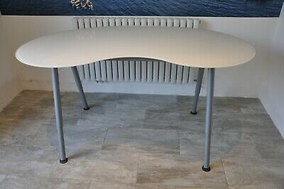 Ikea Office Desk L Shaped Beech Grey Metal Legs Set