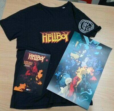 HELLBOY T-SHIRT+ ALBO 25 ANNI + POSTER Mike Mignola - Magic Press