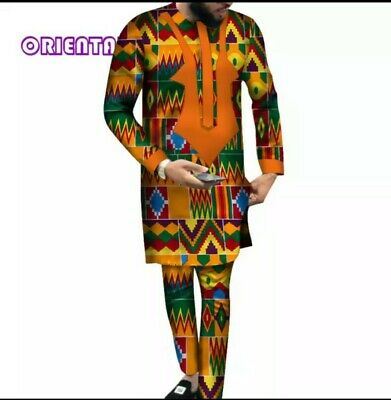 Men Clothes Long Sleeve Shirt Gown and Pant Set Traditional African Baz. S-M-L