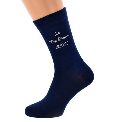Navy Blue Name Wedding Socks, Best Man, Usher, Groomsman, Grandad, Step Dad,etc