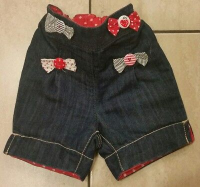 Baby Girl Denim Next Trousers Shorts Red Bows Age 3-6 Months