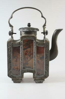 Antique Chinese Pewter Teapot With Scenic Glass Panels Marked