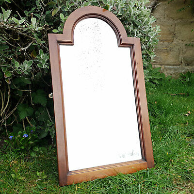 Victorian Arched Mahogany Pier Glass Wall Mirror Early Late C19th (Antique)