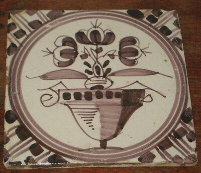 Antique Delft Manganese Tile Painted Flower  +