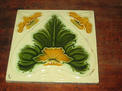 Period Raised Art Nouveau English Tile Strong Design