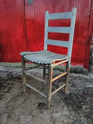 Antique Farmhouse Ladder Back Slat Wood Chair Minor Repair Or Parts