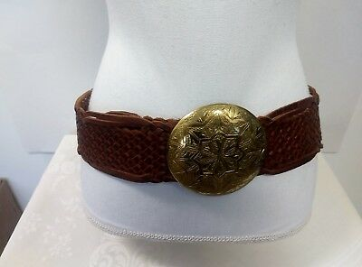 Chico's Women's Belt Brown Leather Gold Medalion Buckle RN#79984 Sz (M) Morocco