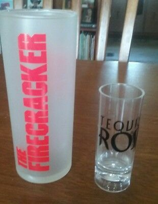 vintage Seagram's 'The Firecracker' drink glass & a 'Tequila Rose' shot glass.