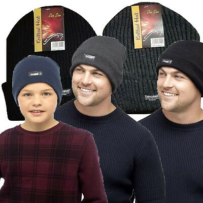 High Quality Mens Kids Warm Winter Acrylic Thinsulate Beanie Hat Black Grey
