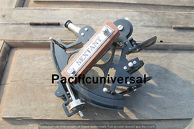 "Nautical Vintage Full Brass New Black Powder Coating Sextant 8"" Ship Working."