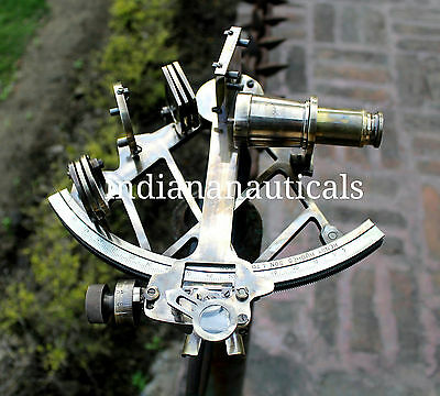 """Heavy Brass Nautical Sextant 9"""" Maritime Ship Working Instrument Astrolabe Gift."""