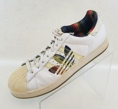 Adidas Superstar Sneakers Athletic Multi Stripe Trefoil White Mens Shoes Size 11