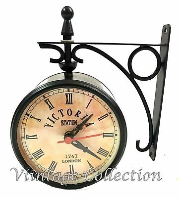 Antique Victoria Station Double Sided Railway Clock Functional Clock Home Decor