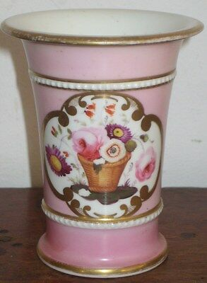 English Regency Period Spill Vase  Hand Painted & Gilded