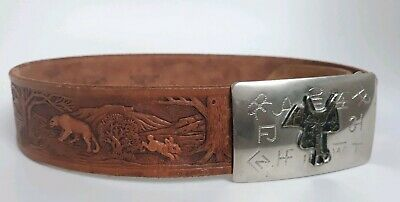 USA Made Vintage 70s Cowboy Western Cattle Brands Buckle/Belt -Chambers belt Co