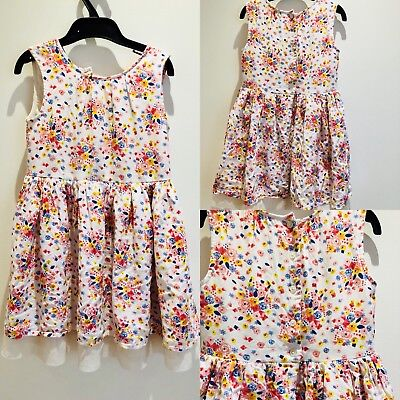 Girls Sleeveless Floral Summer Holiday Dress 5-6 Yrs White Pink Yellow Lined BHS