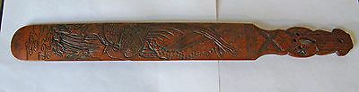Antique Oriental Hand Carved Paddle Bamboo Intricate Design Sword Handle