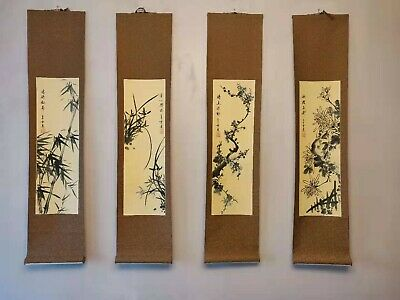 Plum, Orchid, Bamboo, Chrysanthemum Chinese Painting Silk Scroll, Set of 4
