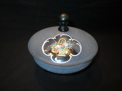 Vintage Blue Frosted Candy Dish Unique Portal Clear Window Black Knob & Three Le