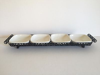 Vintage Mid Century Modern 4 Part Metal & Ceramic Hors D'oeuvres Serving Tray