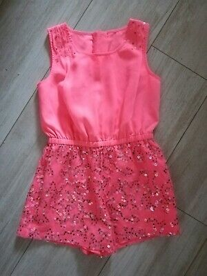 Girls Coral Coloured Short Jumpsuit with Sequins, age 7