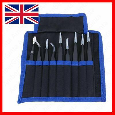 Precision ESD Anti-Static Stainless Steel Tweezers Set Kit for Electronic 9 Pcs