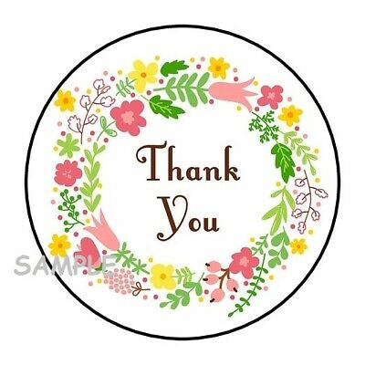 "SEAL LABELS PRETTY FLOWERS #12 ~  1/"" STICKER THANK YOU"