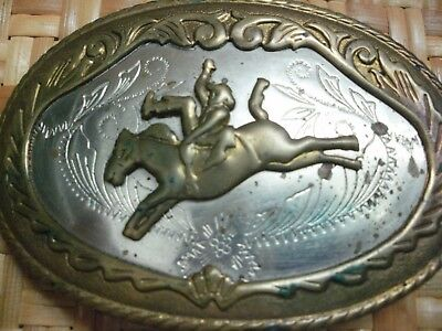 True  Vtg., - Western / Cowboy  / Rodeo Themed BELT BUCKLE in German Silver