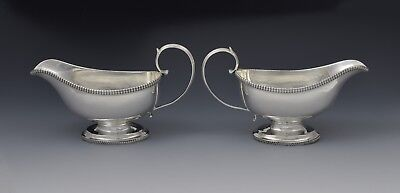 Pair George III Silver Pedestal Sauceboats Crispin Fuller Sauce Boats Antique