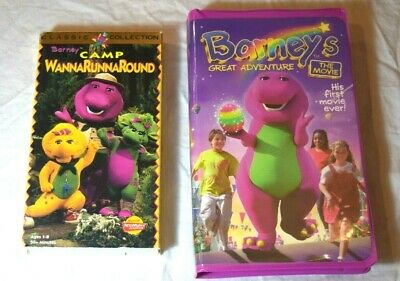 Barney Vhs Lot Camp Wannarunnaround And Barneys Great Adventure The