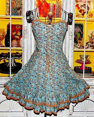 Betsey Johnson VINTAGE Dress FLORAL ROSE Blue CORSET TIE Lace Up FIT & FLARE 4 S