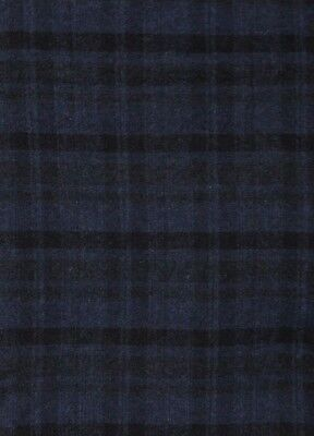 """HAND DYED RUG HOOKING WOOL Mill-Dyed APPLIQUE """"MIDNIGHT BLUE PLAID""""  YARDAGE"""