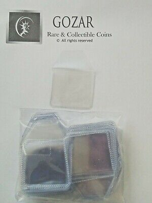 25 x plastic coin wallets 2 by 2 inch tuck in flap storage envelopes 50p £1 £2