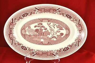 """Pink Red Willow 13 1/2"""" Oval platter Vitrified Restaurant Ware Sterling China US"""