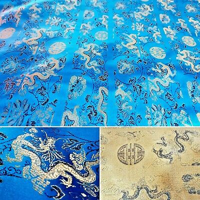 Turquoise Embroidered Oriental Silky Satin Brocade Fabric Gold Dragon UK SELLER