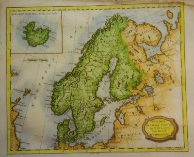Antique Map of Scandinavian and Iceland by James Barlow 1806