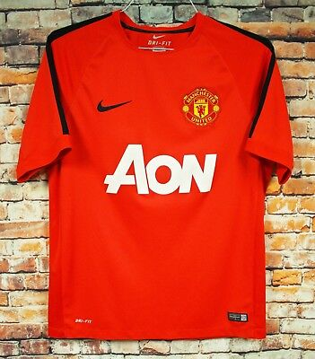 c67d130c700 Mens Manchester United AON Soccer Shirt Jersey LARGE Nike Dri-Fit Red  2013-14