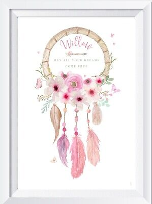 Personalised baby girl dreamcatcher print picture nursery child walldecor pink