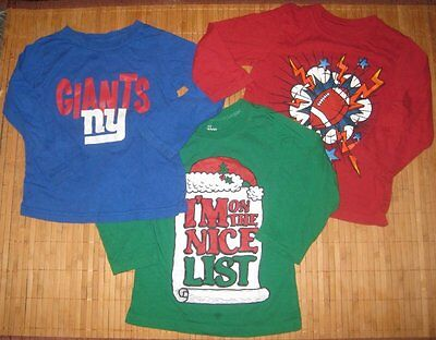 3 Boys Shirts 3T NFL Giants Childrens Place Football Nice List Green Red Blue