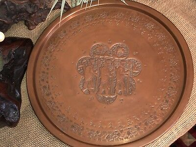 Vintage Antique PERSIAN Middle Eastern Hand Chased Copper Tray Three Kings 13.5""