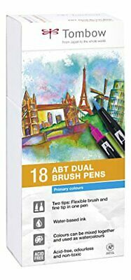 Tombow Dual Brush - Estuche 18 rotuladores doble punta pincel, color muticolor