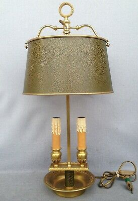 Big antique french 1960-70's brass office desk lamp empire style goose